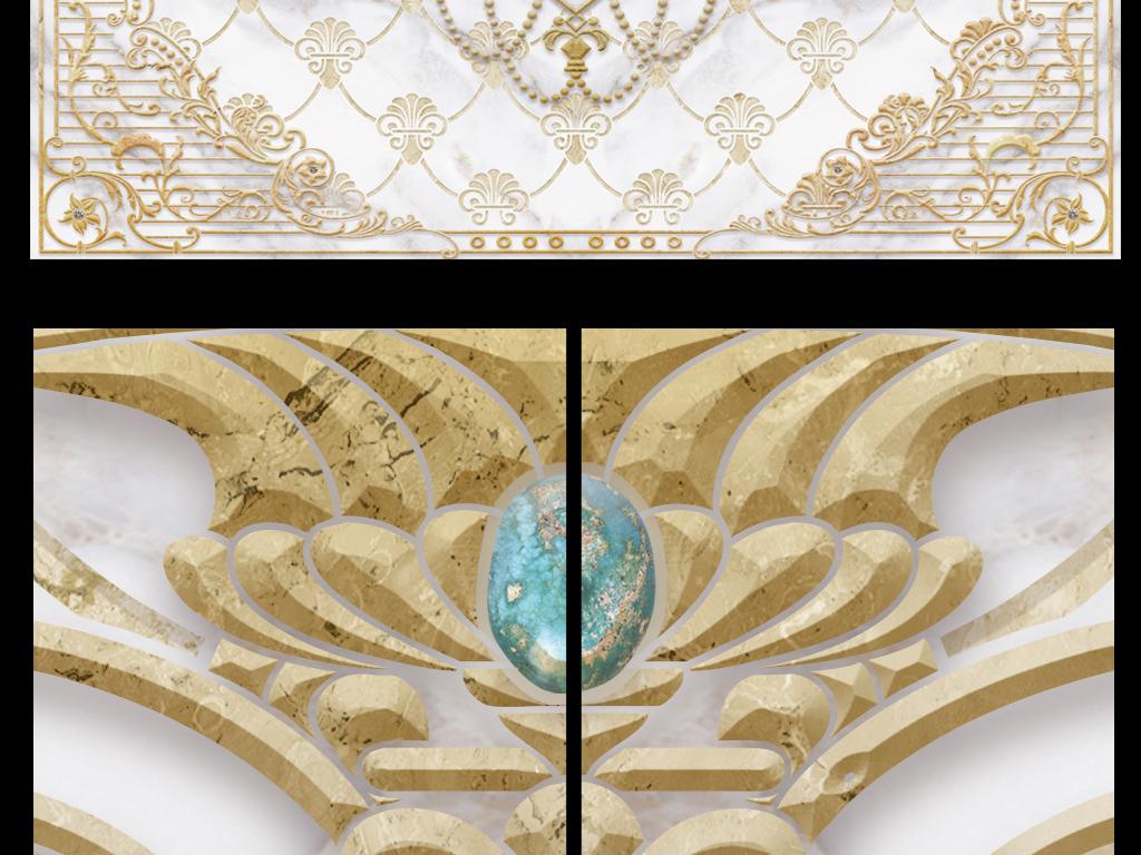 奢华欧式油画花卉大理石纹理电视背景墙