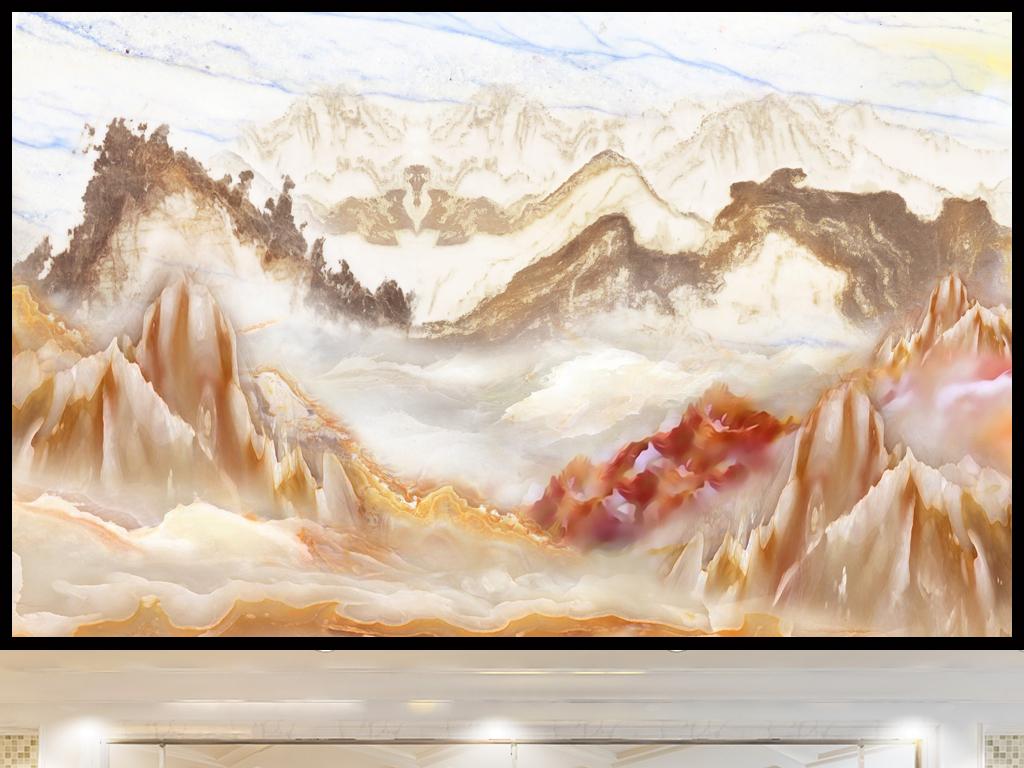 山水如画高清大理石电视背景墙