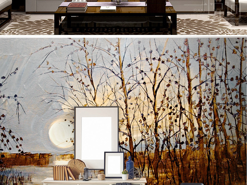 北欧油画树木北欧装饰画树林背景手绘树林