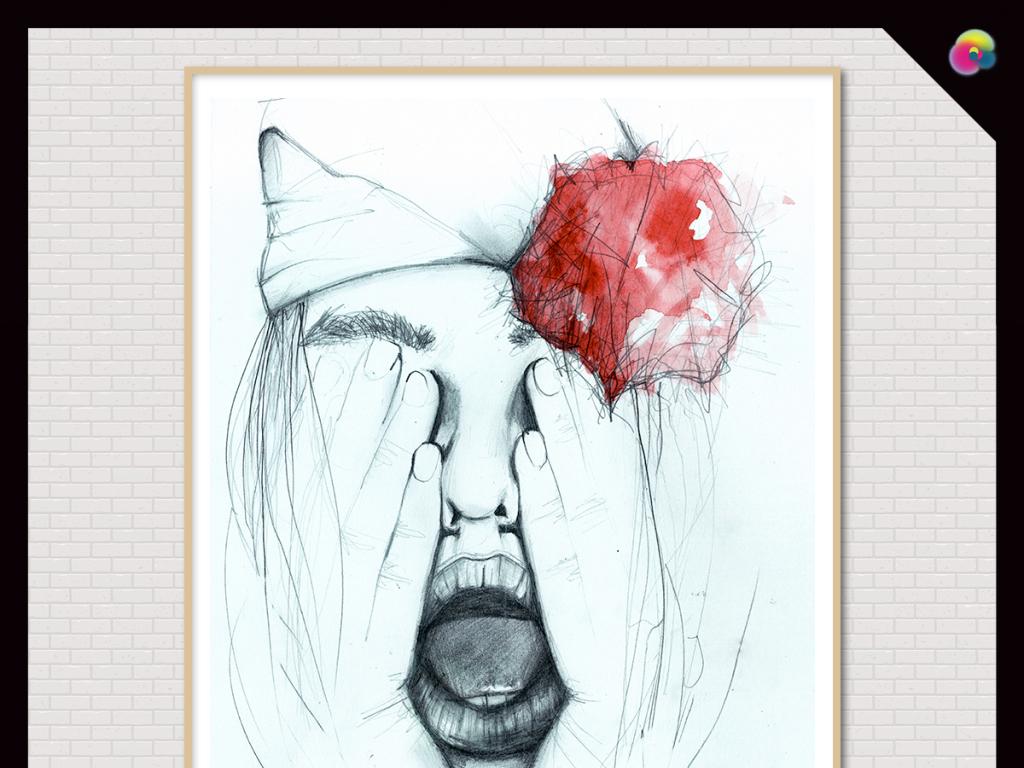 北欧手绘现代简约素描美女装饰人物插画