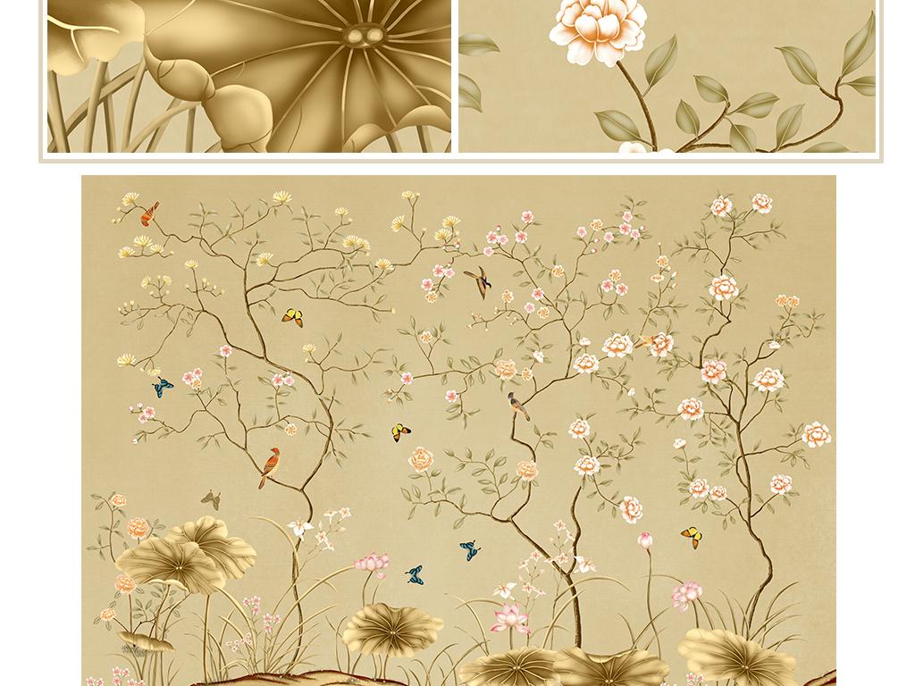 中式手绘工笔花鸟荷花背景墙装饰画