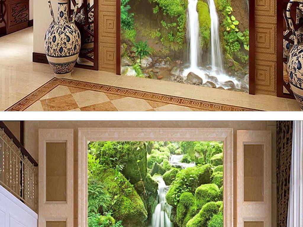 瓷砖高清图片风景画小溪高清风景画瀑布背景绿色自然风光小溪背景清山