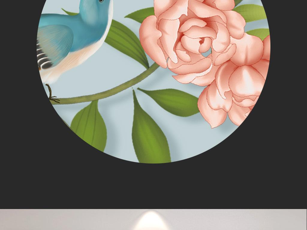 手绘花鸟蝴蝶高清手绘工笔画花鸟图背景墙
