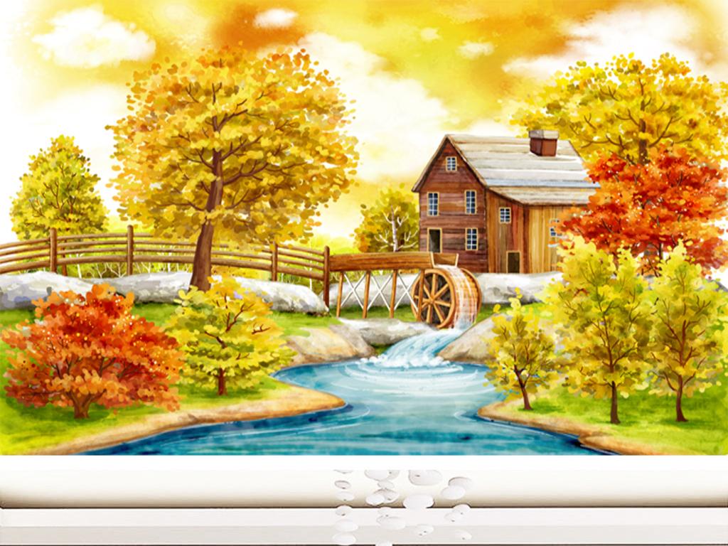 唯美意境油画风景背景墙装饰画