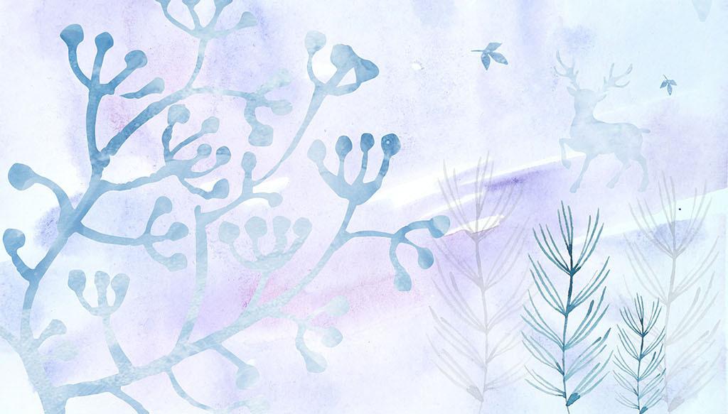北欧简约植物油画背景墙