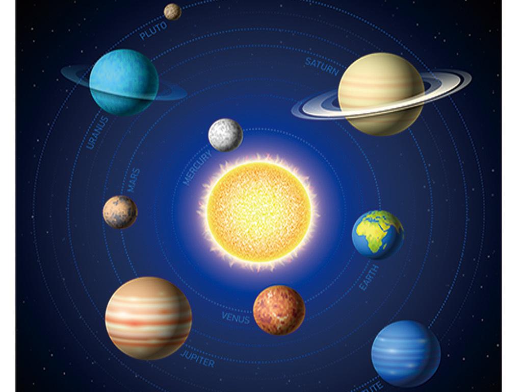 蓝色宇宙星空卡通太阳系地球行星月亮背景墙图片