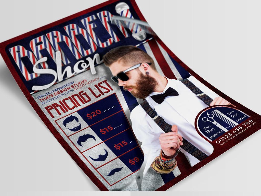 平面|广告设计 海报设计 国外创意海报 > 复古摩登高档理发店海报psd