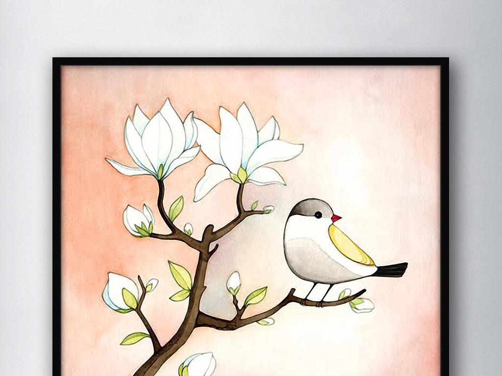 白玉兰花小鸟手绘现代欧式水彩家居装.