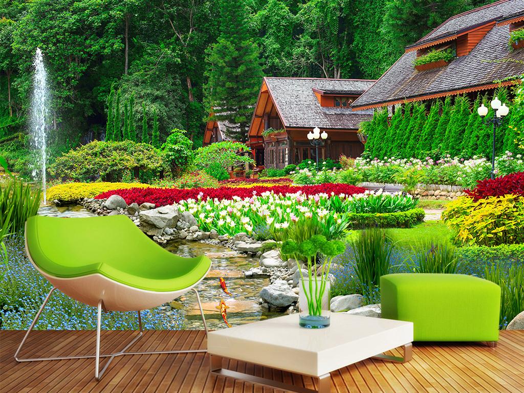 景观绿化草坪花草小溪乡村花园园林公园后花园鱼池背景墙风景风景背景
