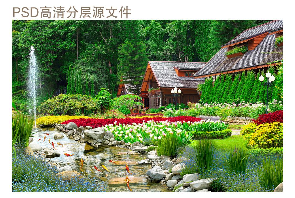 作品模板源文件可以编辑替换,设计作品简介: 别墅后花园景观风景背景