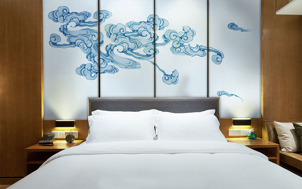 新中式手绘工笔祥云背景墙壁画装饰画软包