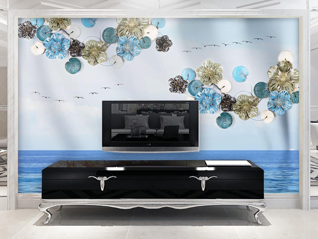 背景墙|装饰画 电视背景墙 现代简约电视背景墙 > 现代创意立体圆盘花图片