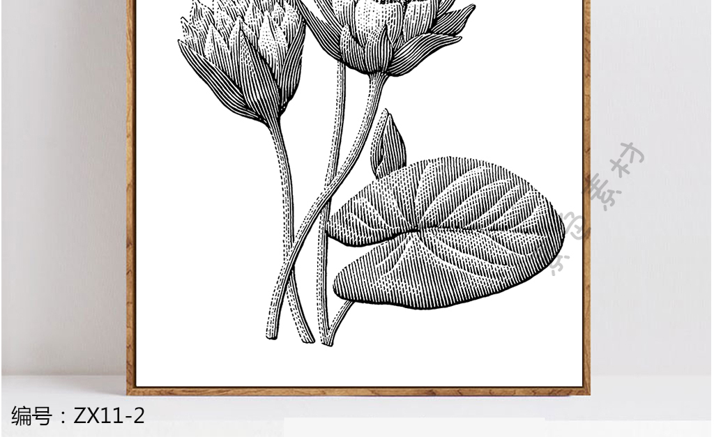 现代简约手绘花卉小清新黑白装饰画