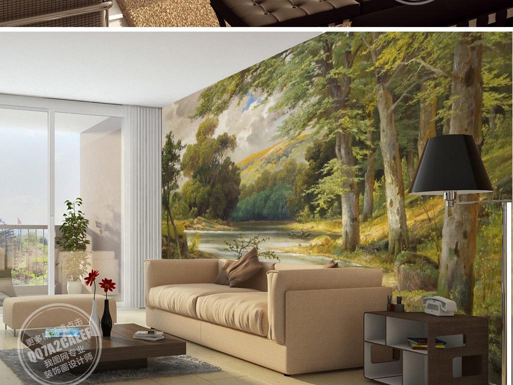 欧式复古手绘森林湖泊风景电视背景墙