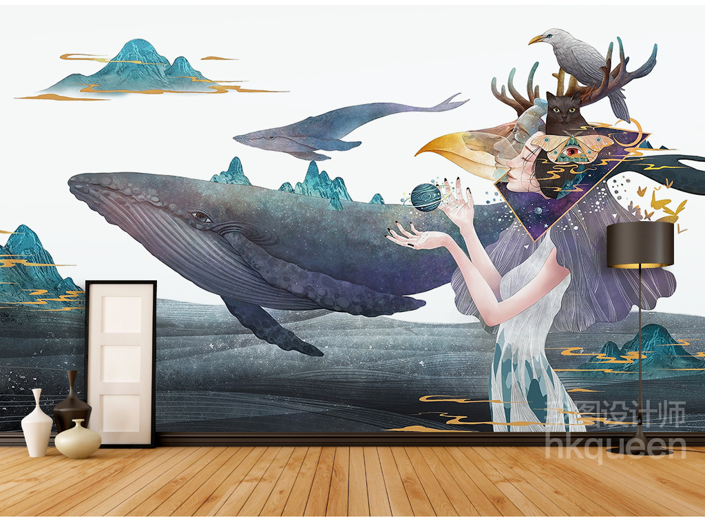 现代创意手绘卡通巫师美女海豚山水背景墙