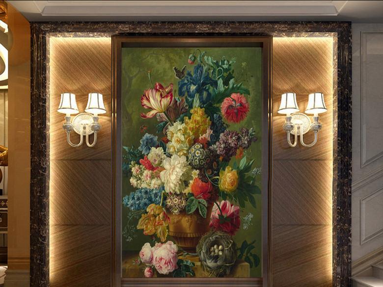 油画花卉花瓶古典玄关背景墙