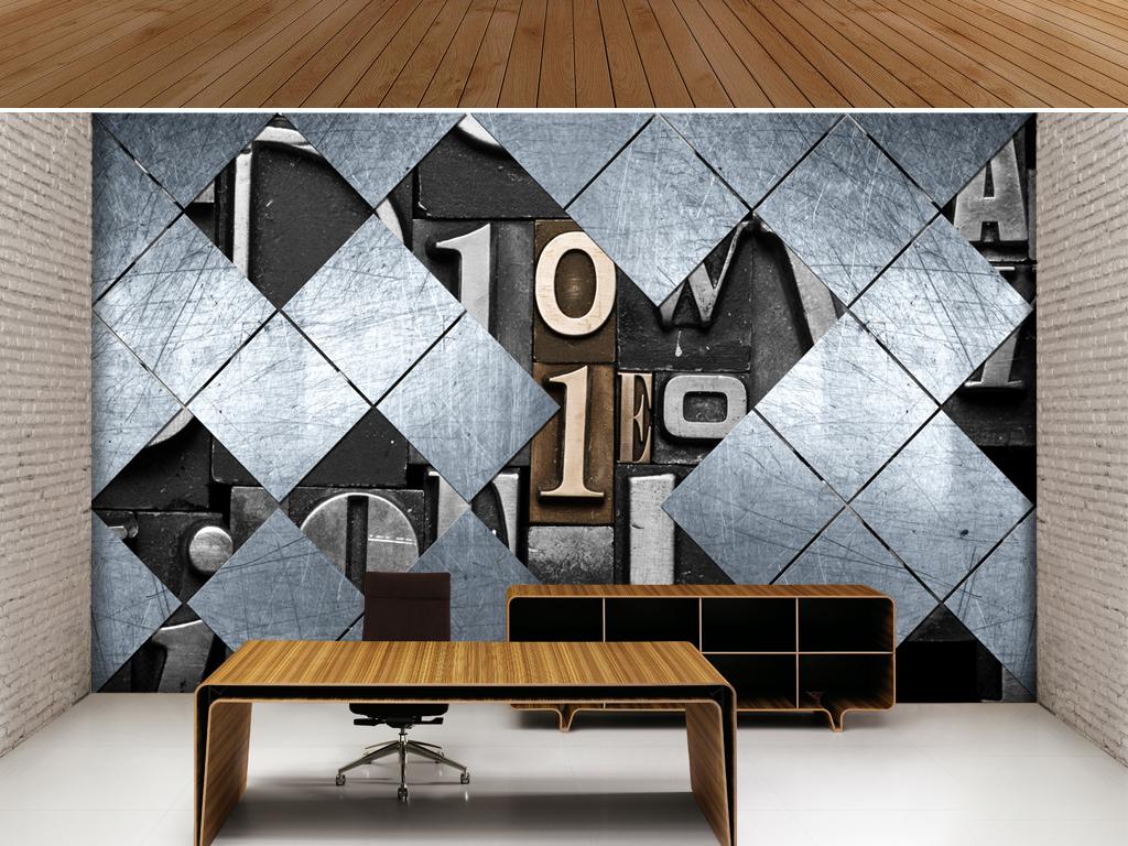 木板工业风复古英文复古背景英文字母复古怀旧字母3d背景英文英文背景