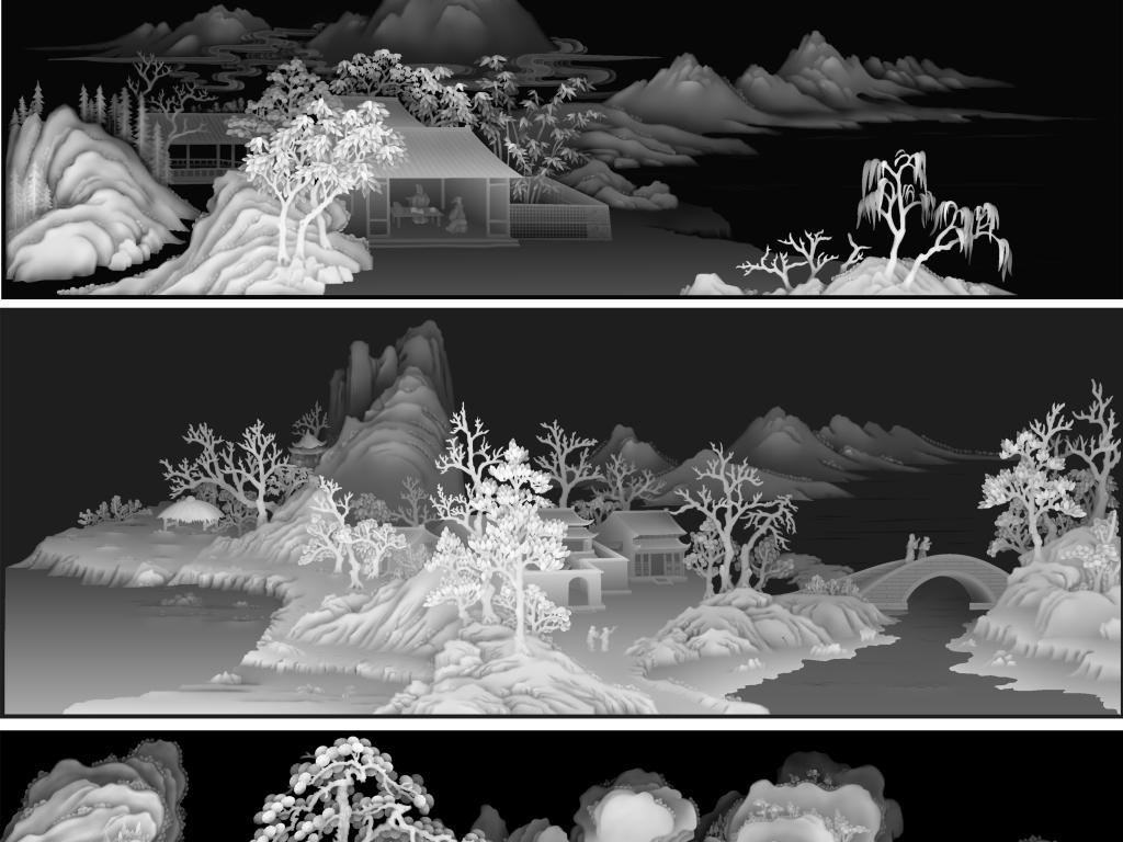 红木家具雕刻图案风景雕刻图案传统文化设计素材灰度图灰度山水图兰亭