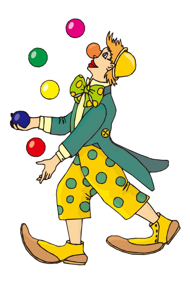 卡通马戏团滑稽小丑看着抛球图片素材 模板下载 0.29MB 动漫人物大全 人物形象