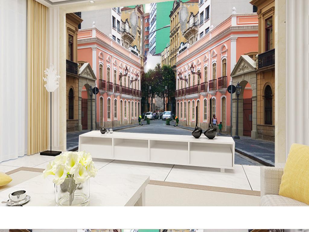 高楼大厦欧风街道道路街区巷子欧式电视背景墙欧式花纹背景墙欧式风格
