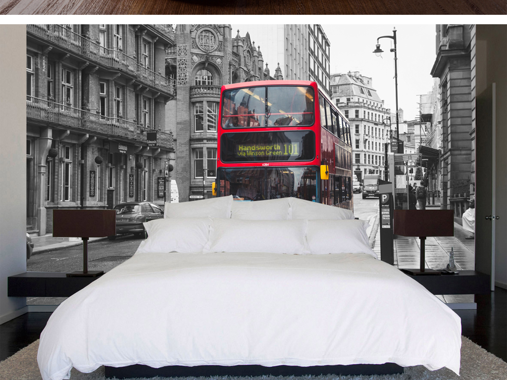 复古黑白伦敦街道红色双层巴士欧式背景墙