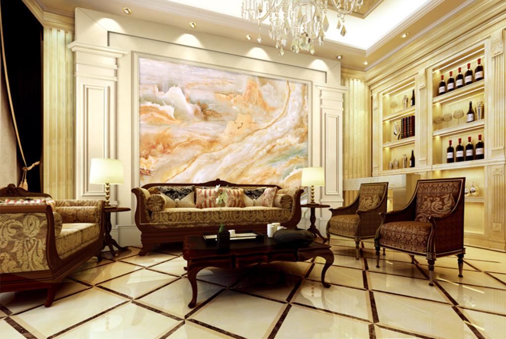 大好河山欧式中式大气中国风客厅家装工装壁画山水大理石石纹背景玉石