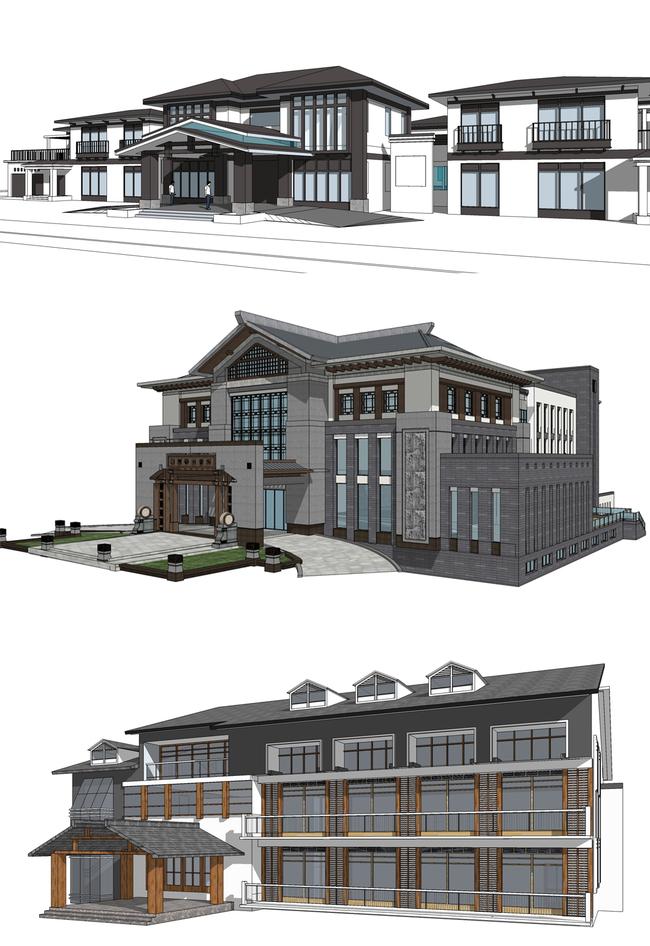 20个新中式会所建筑su模型