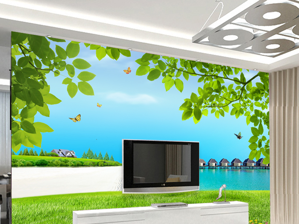 简约现代绿色山水风景画客厅电视墙背景墙