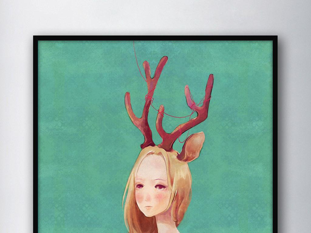 鹿角女孩北欧创意手绘水彩现代家居装饰画