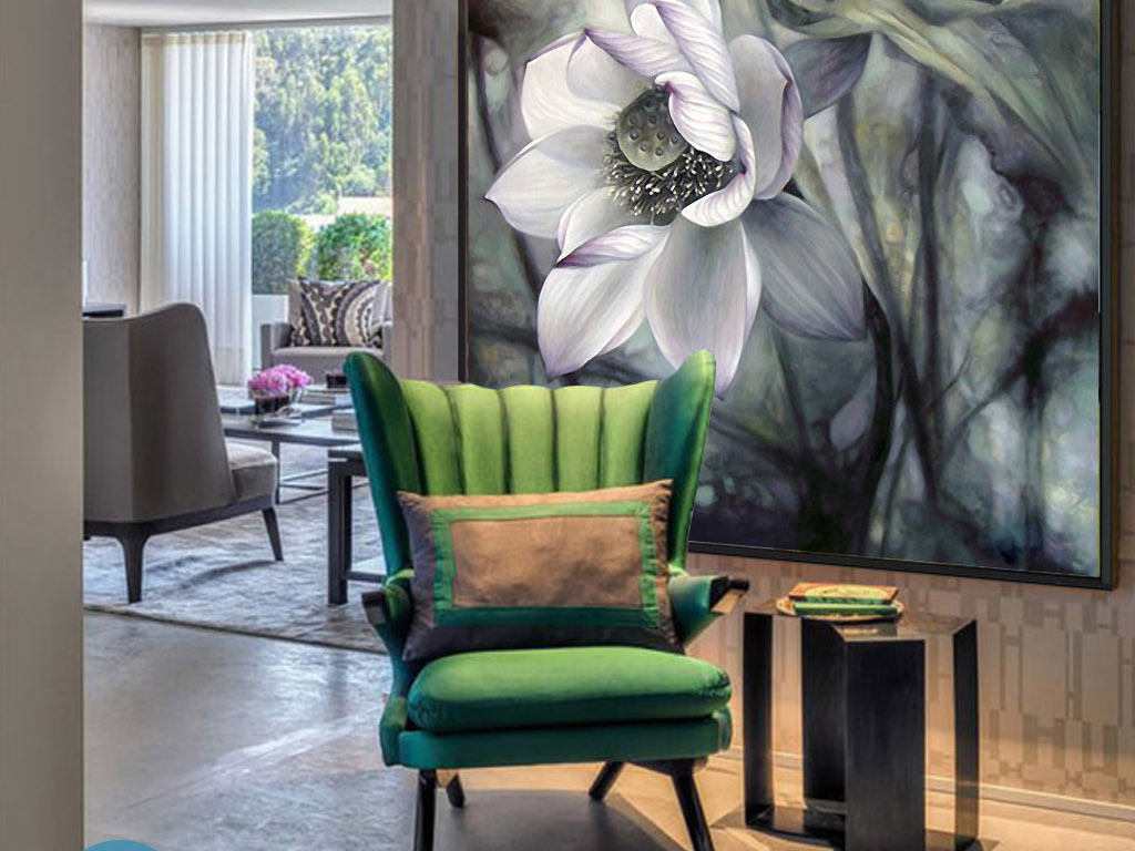 莲花之殇现代新中式手绘室内家居装饰画