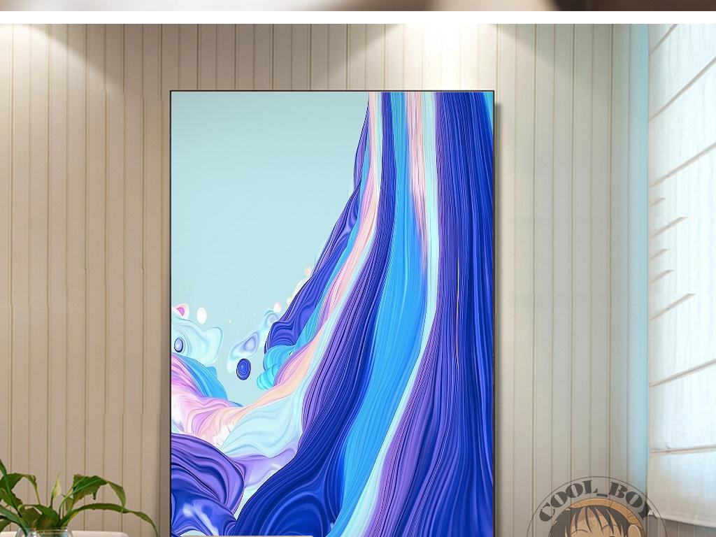 蓝色海洋丝绸海水动感绘画抽象装饰画