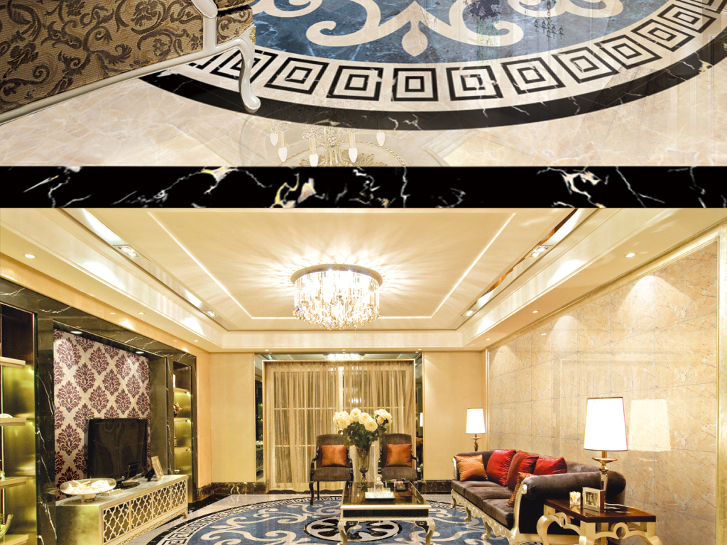 背景墙|装饰画 3d地板 拼花地板 > 高清高仿大理石水刀拼花  版权图片