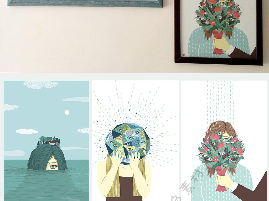 背景墙|装饰画 无框画 动物图案无框画 > 北欧简约手绘水彩画小清新