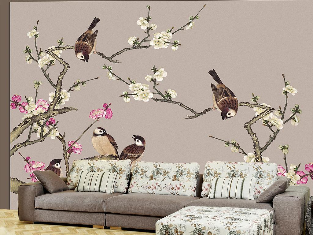 高清工笔桃花家和万事兴花鸟背景墙