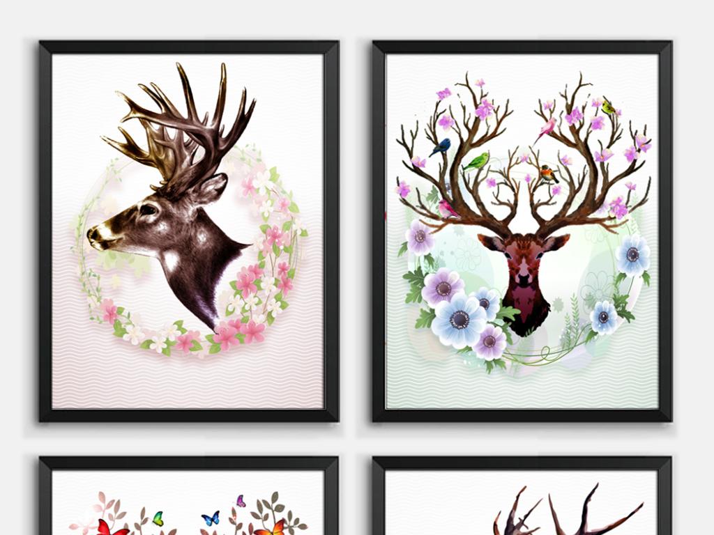 手绘糜鹿北欧时尚风格客厅餐厅无框画