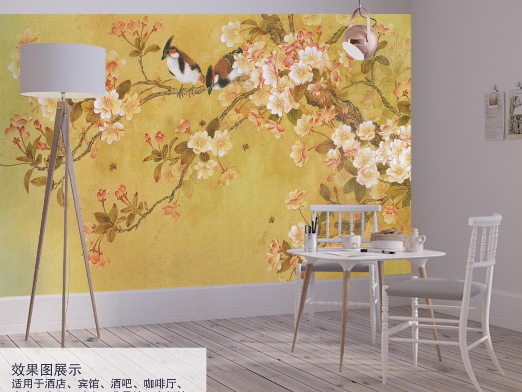工笔花鸟中式手绘国画背景墙装饰画