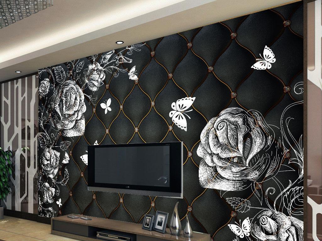手绘线条玫瑰软包背景墙