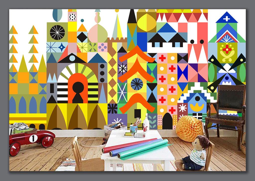 手绘魔方色块卡通城堡儿童房背景墙