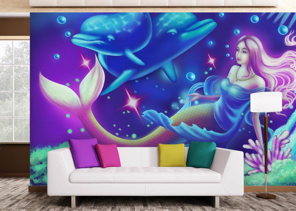 手绘卡通美人鱼美女海豚背景墙壁画壁纸