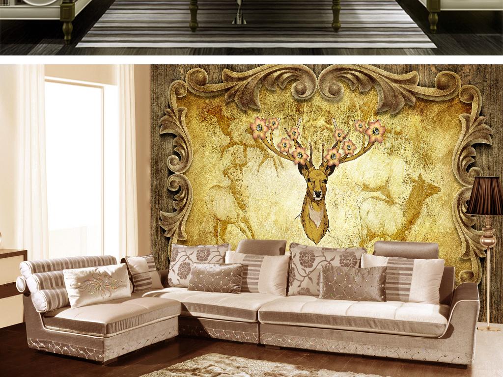 客厅壁画沙发背景墙背景画壁画壁纸形象墙欧式
