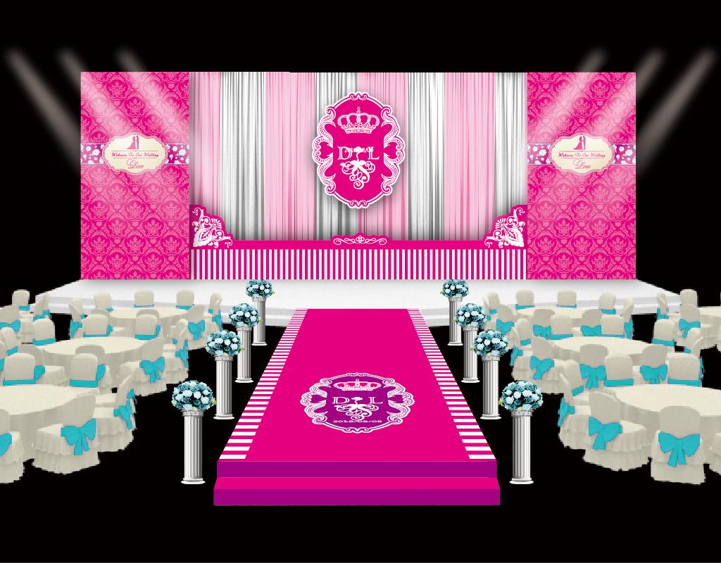 粉色婚礼婚庆舞台设计图片