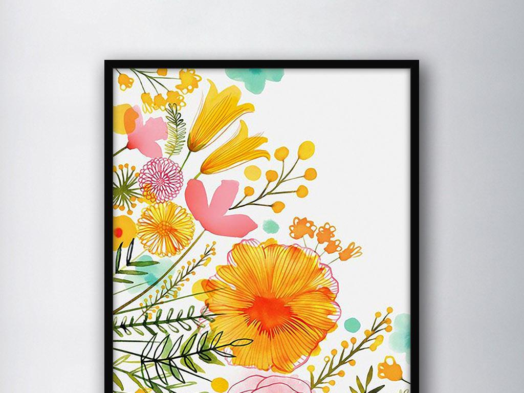 百花齐放花卉色彩北欧现代手绘家居装饰画