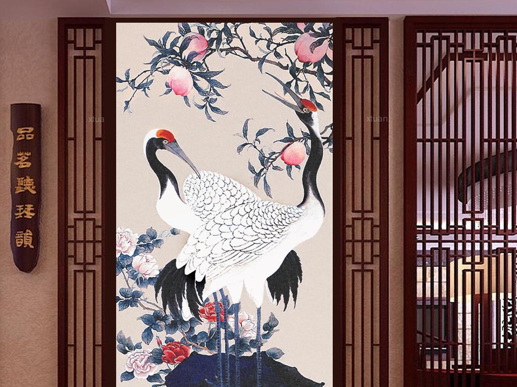 祥瑞长寿仙鹤中式寿桃水墨国画中式玄关