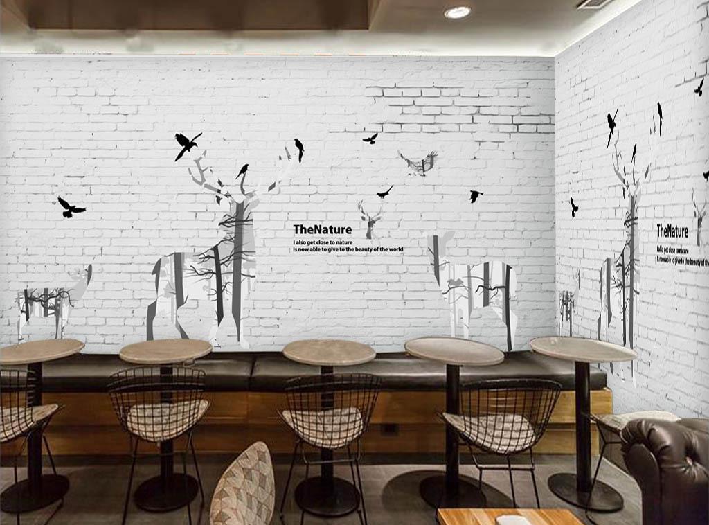 北欧砖墙手绘麋鹿现代时尚背景墙