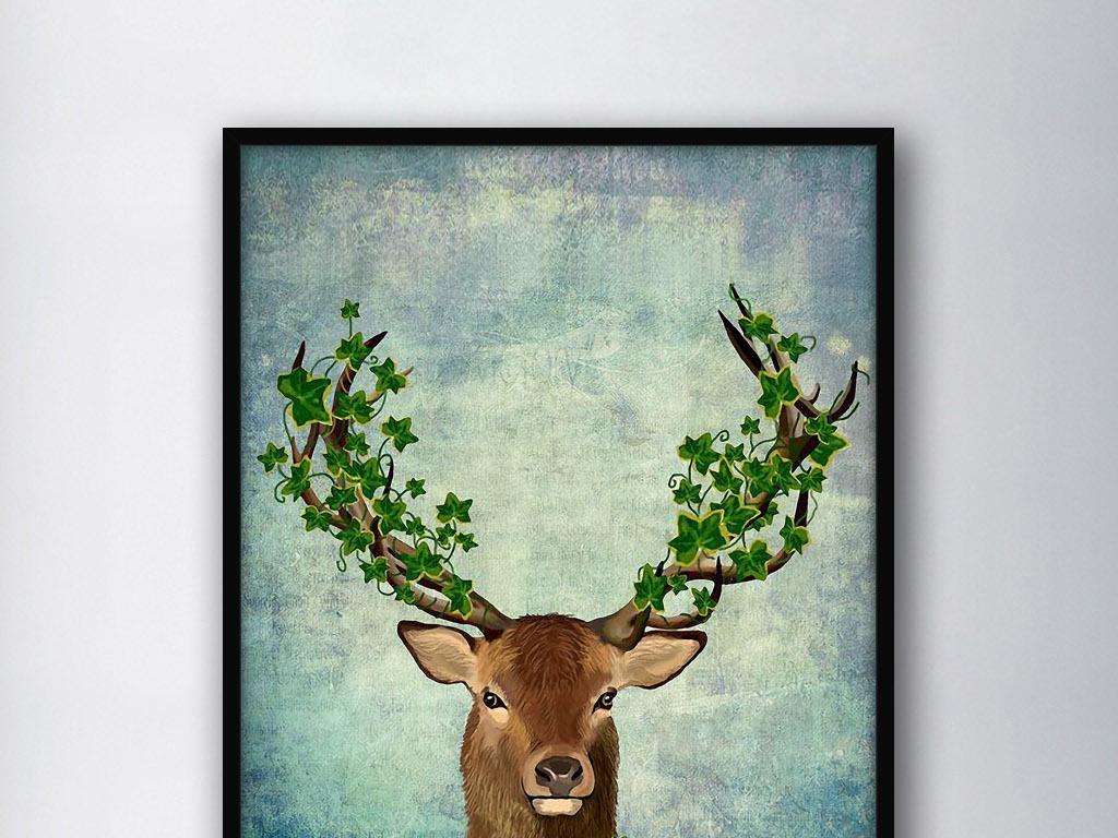 背景墙|装饰画 无框画 动物图案无框画 > 麋鹿绿藤北欧复古小清新怀旧