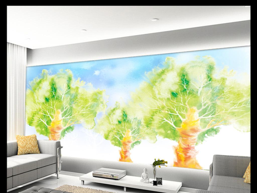 唯美绿色树抽象清新风景手绘背景墙装饰画