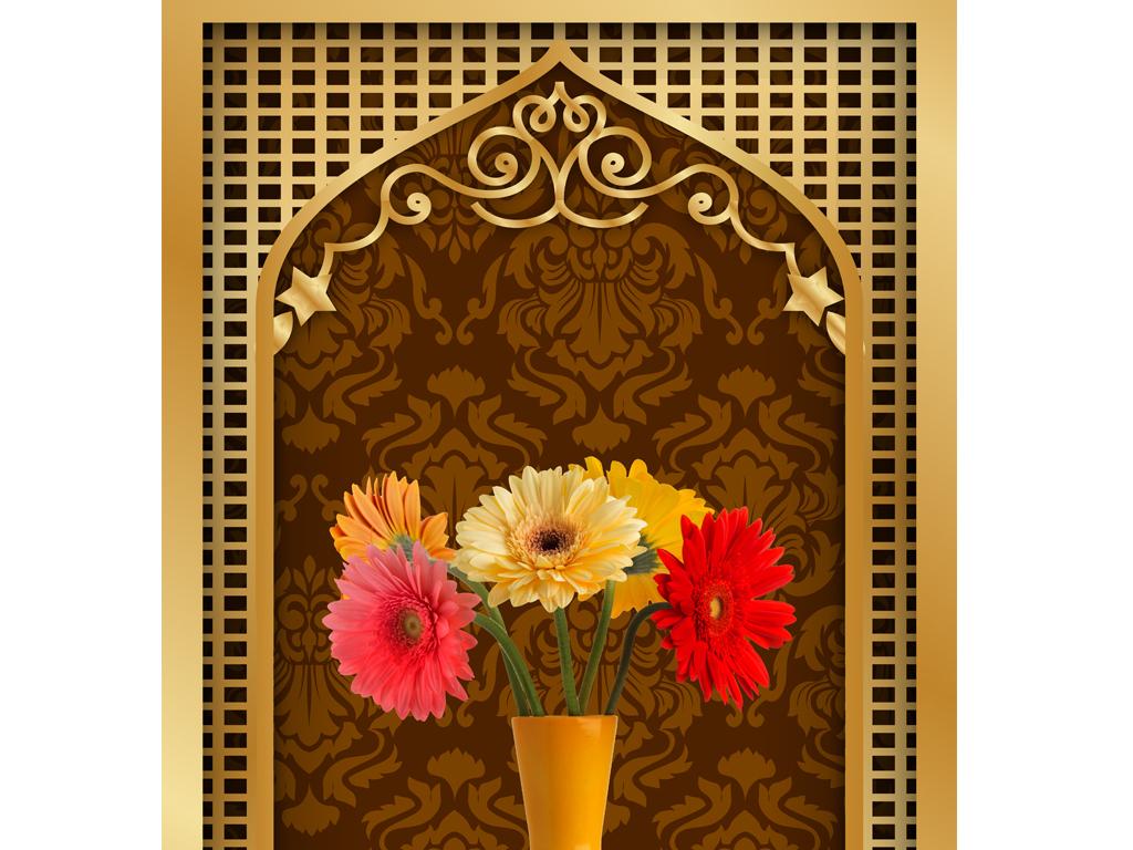 高清欧式玄关背景墙过道走廊艺术花瓶背景墙