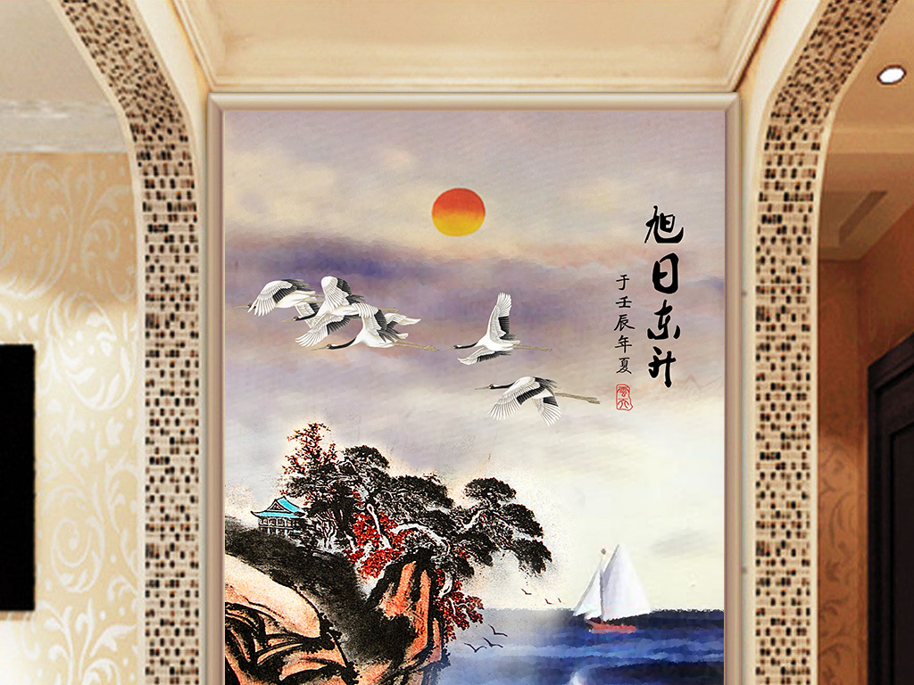 山水风景图海边旭日东升仙鹤玄关装饰背景墙