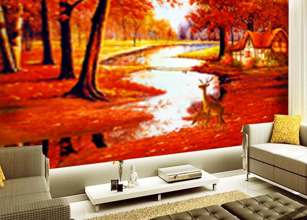 电视背景墙 油画|立体油画电视背景墙 > 唯美意境欧式森林糜鹿童话