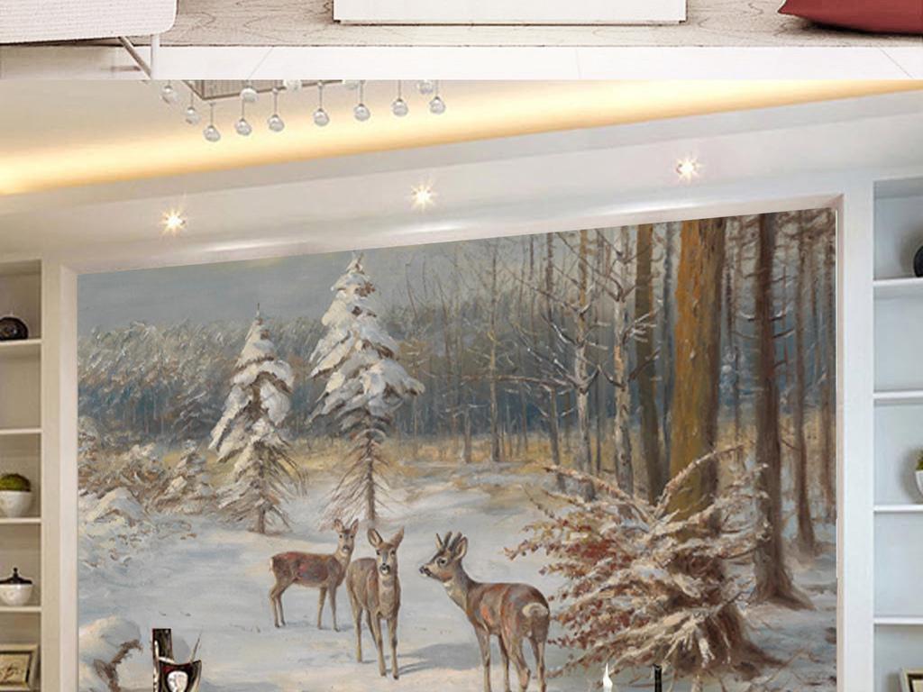北欧复古森林糜鹿雪景油画背景墙